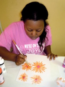 painting daisy flowers