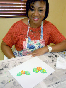 Fabric painting student Karlene Adderley