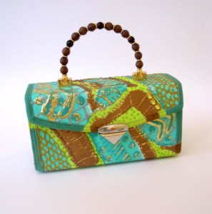 Student Handbag- How to paint and make a structured purse. Purse by Rosilee Thompson.