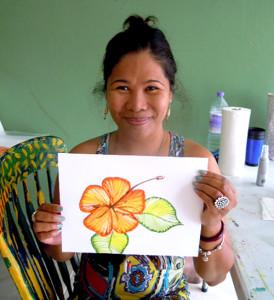 Paint flowers for souvenirs